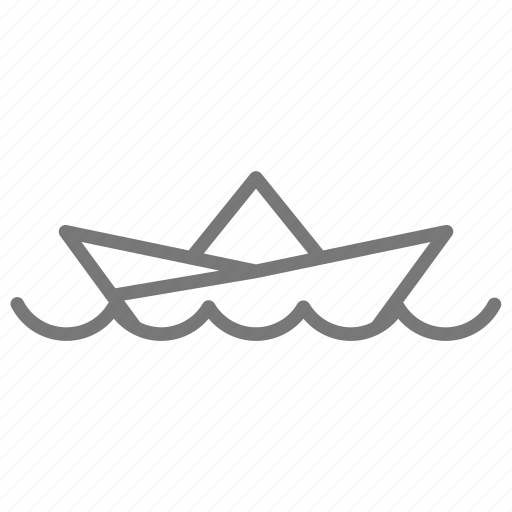 boat, float, hat, newspaper, origami, ship, water icon