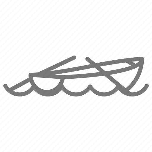 boat, float, oar, paddle, row, rowboat, water icon