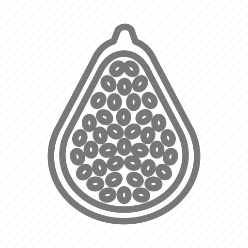 fruit, half, papaya, seed icon