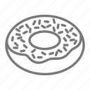 bakery, breakfast, dessert, donut, doughnut, sprinkles icon