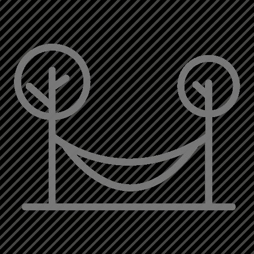 hammock, park, relax, swing, tree, yard icon