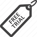 free, free trial, label, sticker, tag, trial icon