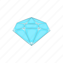 cartoon, crystal, diamond, gem, jewel, polished, sign icon