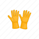 cartoon, gloves, hand, protective, rubber, safety, sign icon