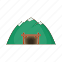 cartoon, gold, mine, miner, mineral, mountain, sign icon