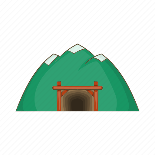 cartoon, gold, mine, miner, mineral, mountain, sign icon