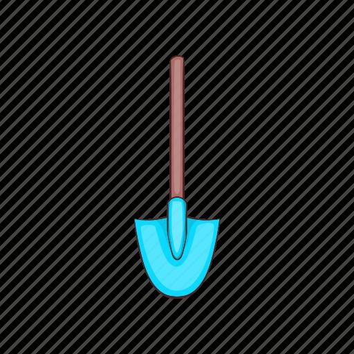 cartoon, equipment, garden, gardening, metal, shovel, sign icon