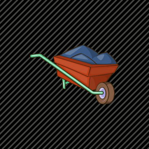 barrow, cartoon, earth, equipment, gardening, sign, wheelbarrow icon