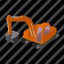 excavator, mining equipment, quarry, transport icon