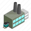 based, coal, generator, isometric, line, power, station icon
