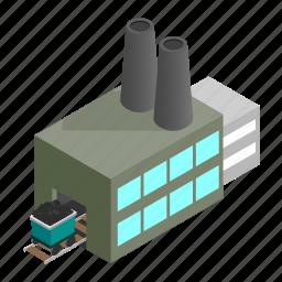 based, coal, generator, isometric, line, power, station icon