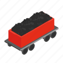 coal, delivery, electric, isometric, outline, tank, wagon icon