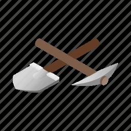 illustration, isometric, mining, pick, pickaxe, shovel, tool icon