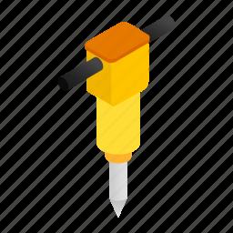 drill, hammer, isometric, jack, jackhammer, tool, worker icon