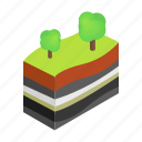 earth, ground, isometric, layer, soil, surface, tree icon