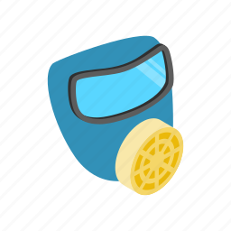 air, background, biological, isometric, mask, respirator, toxic icon