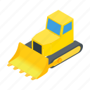 bulldozer, equipment, heavy, isometric, machinery, transportation, vehicle icon
