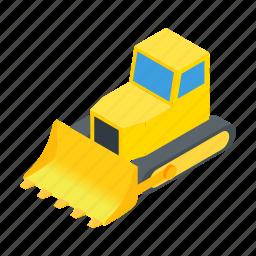 bulldozer, equipment, heavy, isometric, machinery, transportation, vehicle icon