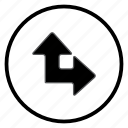 arrow, navigation, navigation icon, right, up icon