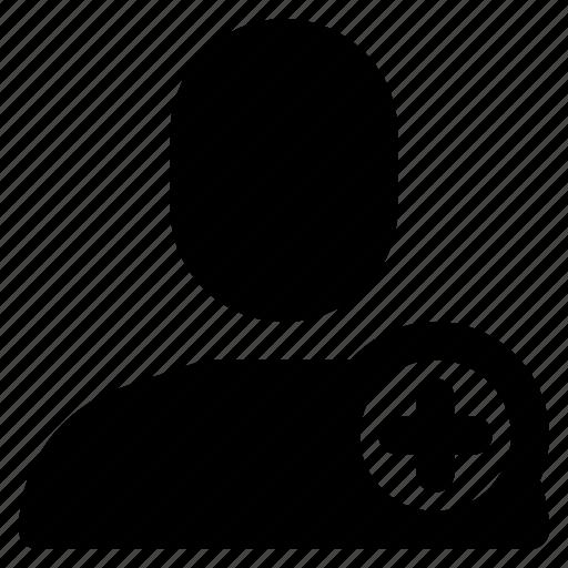 add, avatar, contact, human, man, plus, user icon