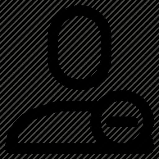 avatar, contact, human, man, minus, remove, user icon
