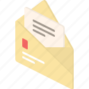 email, envelope, inbox, letter, mail, notification, post, send, stamp icon