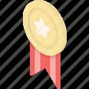 achievement, award, gold, golden, medal, prize, ribbon, star, trophy, winner icon