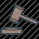 auction, case, closed, court, gavel, judge