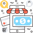 banknote, eshop, m commerce, mobile, mobile banking icon