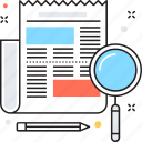 journal, magnifying, news, newspaper, publication icon