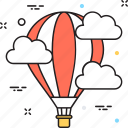 air balloon, clouds, discover, hot air balloon, sky icon
