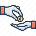 donations, give, money, pay, take icon