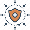 defense, defensive, downgrade, escutcheon, hillside, safeguard, shield icon