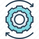 cogwheel, efficiency, in progress, machinery, ongoing, proceeding, under way icon