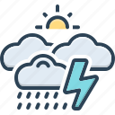 storm, rainfall, thunder, rumble, wet weather, whether, burr icon