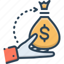 borrower, lender, loan, bribery icon