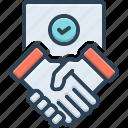 agreement, commitment, cooperation, deal, handshake, partnership, settlement