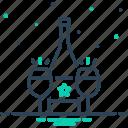 alcohal, bottle, cava, drink, glass, liquor, wine icon