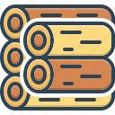 bundle, forest, hardwood, lumber, piece, timber, wood icon