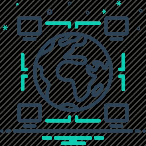 glob, intercompany, monitor, technology icon
