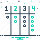 abacus, calculation, computation, count, keep a count of, number, reckoning icon