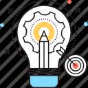 cogwheel, dartboard, development, pencil, project development icon