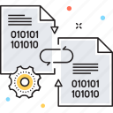 binary, binary system, cog, cogwheel, data exchange icon