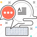 chat bubble, direct message, email, keyboard, short message icon