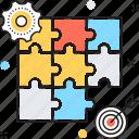 dartboard, jigsaw, marketing, puzzle, strategy icon