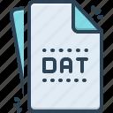 dat, file, document, format, folder, extension, dat file