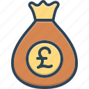 pounds, currency, moneybag, capital, cash, finance, british currency