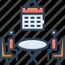 arrangement, convening, organizing, planning icon