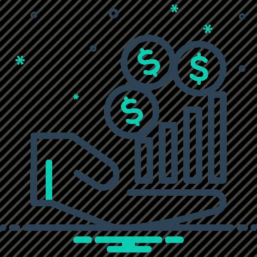 finances, income, increase, revenue, revenues, salary icon
