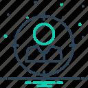 focusing, attract, spotlight, target, center icon
